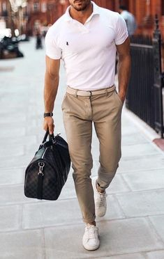"""👌 The """"Classy Casual"""" Look! Khaki Pants Outfit, Polo Shirt Outfits, Polo Outfit, Classy Casual, Casual Looks, Men Casual, Business Casual Men, Best Mens Fashion, Men's Wardrobe"""