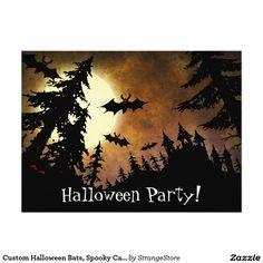 Custom Halloween Bats, Spooky Castle and Full Moon 5.5x7.5 Paper Invitation Card
