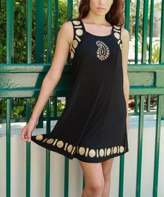 Another great find on #zulily! Black & Gold Paisley Sleeveless Dress by La Moda Clothing #zulilyfinds