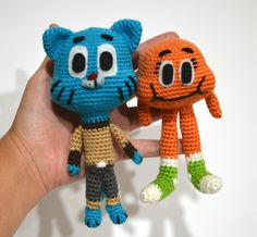 I made these guys for my niece. They're from The Amazing World of Gumball a really sweet, screwball cartoon. I used a 2.5mm hook and DK weight yarn for most of the parts. I made the eyes and eyebro...
