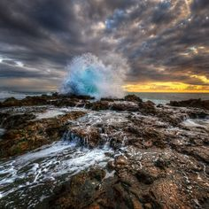 The coast of Southern California at Rancho Palos Verdes after a (rare) violent storm.  Cold Wave by Neil Kremer