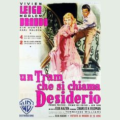 TRAM CHE SI CHIAMA DESIDERIO,UN (A STREETCAR NAMED DESIRE) - 1951 Elia Kazan, Streetcar Named Desire, Michael Connelly, Tennessee Williams, Vivien Leigh, Marlon Brando, Film Posters, Acting, Names