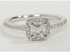 Asscher Cut Halo Diamond Engagement Ring in 14K White Gold