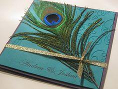 Peacock wedding invitation.