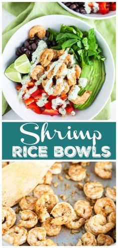 Mexican Shrimp Rice Bowls are the perfect quick and healthy lunch or dinner recipe. These flavorful rice bowls are topped with a tangy and creamy dressing! Lunch Recipes, Seafood Recipes, Healthy Dinner Recipes, Sauce Recipes, Free Recipes, Healthy Food, Healthy Eating, Yummy Food, Veggie Rice Bowl