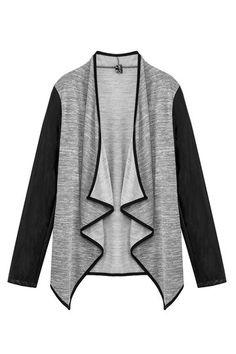 Mangas de couro Jacket Frente aberta com Irregular Hem
