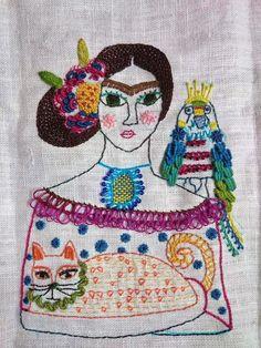 Frida Kahlo embroidery portrait via doknommeaw-play Embroidery Applique, Embroidery Stitches, Embroidery Patterns, Machine Embroidery, Textile Fiber Art, Textile Artists, Frida Art, Creative Textiles, Thread Art