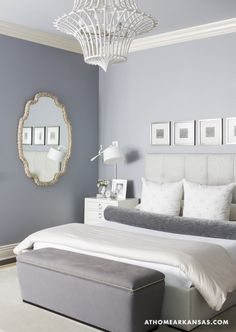 Cool color palette master bedroom with mid gray