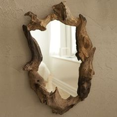 There's just some type of perfection here. Man IN nature. <3 Wooden Tree Root Framed Wall Mirror