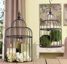 CAGE/CACHE-POT+ENSEMBLE+:+Ensemble+de+2+cages+à+oiseaux+en+fer+noir+pour+plantes.