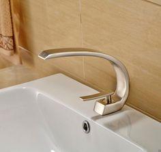 (64.86$)  Buy here  - Creative Bathroom Brushed Nickel Basin Sink Faucet Deck Mounted One Hole Vanity Sink Mixer Tap