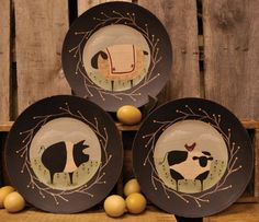 Barnyard Animal Plate - Cow, Sheep, Pig-Pig Plate,Cow Plate,Sheep Plate,Decorative Plates,Barnyard Animals,Country Plate,Country Primitive Decor,Country Primitives,Country Primitive Home Decor,Kitchen Decorations,Country Kitchen,Country Kitchen Home Decor