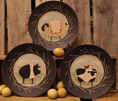 Barnyard Animal Plate - Cow, Sheep, Pig-Pig Plate,Cow Plate,Sheep Plate,Decorative Plates,Barnyard Animals,Country Plate,Country Primitive Decor,Country Primitives,Country Primitive Home Decor,Kitchen Decorations,Country Kitchen,Country Kitchen Home Decor
