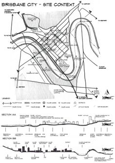 Site Analysis 3of4 BRISBANE CBD Hand drawn by Debbie Turner
