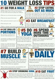 10 tips for weight loss! Make Copy Of The Poster. Great reminders here. #health#diet