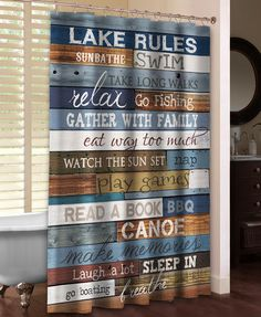 """Channel your inner carefree child with this fun shower curtain. The """"Lake Rules Shower Curtain"""" reminds you what is really important for a relaxing vacation at the lake! All of our products are digita Lake Rules, Lake Signs, Cabin Signs, Lake House Bathroom, Cool Shower Curtains, Lake Decor, Lake Cabins, Lake Life, Rustic Design"""