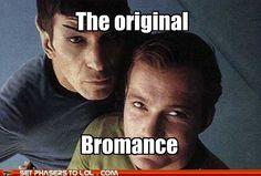 The original slash, even.  #slash #bromance #kirk #spock #star #trek #startrek