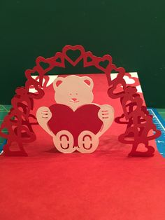 Valentine bear pop-up card (template from Sabrinas Crafting Club on Deviant Art)