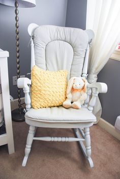 diy rocking chair hazels nursery via project nursery gray white and yellow