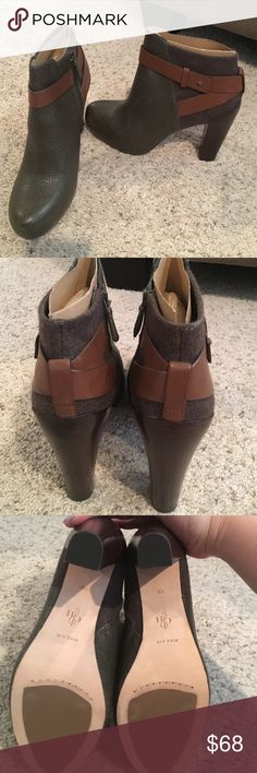 New Cole Haan Nike Air Booties Brand new, never worn. Olive leather with brown leather accents. The Nike Air insole makes them SO comfortable. Size 9. Side zipper. Cole Haan Shoes Ankle Boots & Booties