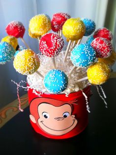 Cake Pops for a Curious George Birthday Party