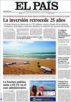 Los Titulares y Portadas de Noticias Destacadas Españolas del 1 de Octubre de 2013 del Diario El País ¿Que le pareció esta Portada de este Diario Español?