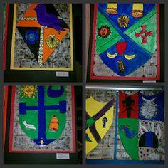 Een eigen wapenschild ontwerpen. Dit is een idee voor de beeldles die aansluit bij het thema middeleeuwen.