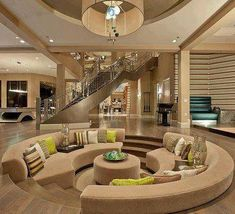 round sunken living room