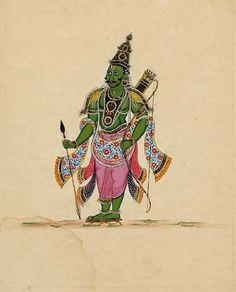A green-complexioned figure (?Lakṣmaṇa) holds in his left hand a long bow. A quiver hangs from his left shoulder and an arrow is in his right hand. He wears decorated ornaments and has Vaishnava namam (emblems) on his forehead. Company School, Tamil Nadu, 1820.