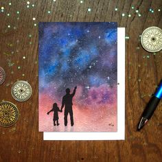 The watercolor galaxy painting featured on this card was inspired by my awesome dad, who instilled in me a great appreciation for science and a hearty sense of wonder about the magical world we live i