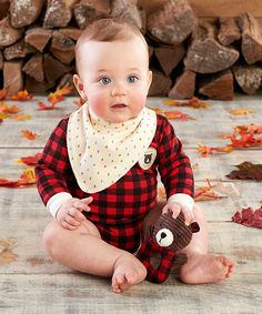 Look at this Red Happy Camper Plaid Bodysuit, Bib & Rattle Set - Infant on #zulily today!