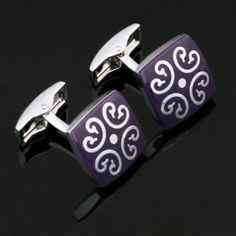 X-010-Stainless-Steel-Silver-Toned-Enamel-Wedding-Cufflinks-Gift-Box-Free-S-H