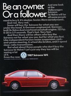 Volkswagen Sirocco Car – 16 Value Model – Red Scirocco Volkswagen, Volkswagen Golf Mk2, Mercedes Benz, Auto Union, Super Images, Car Brochure, Porsche, Vw Cars, Bmw