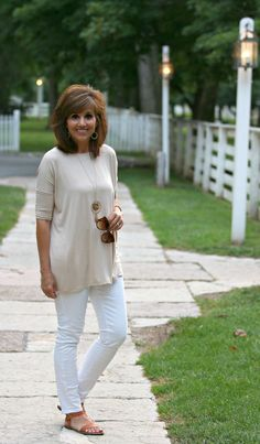 This Adele Piko top is so versatile! Believe it or not, summer is halfway over--yikes--and  you should start thinking about your fall wardrobe! When you do--think this out fit.