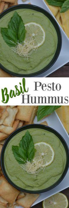 Basil Pesto Hummus. Copycat Zoes Kitchen Basil Pesto Hummus. Best hummus ever!
