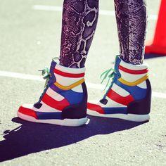 snakeskin pants + colorblock wedge sneakers