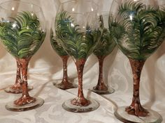 Hand Painted Wine Glasses- Custom Palm Tree Glasses