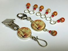 Eiffel Tower Knitting Gift Set- Portuguese Knitting Pin & Matching Stitch Marker Set- Gift for Portuguese Knitters