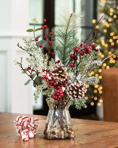 Buy Winterberry Frost Artificial Holiday Accent at Petals Capture the crisp, fleeting beauty of an early morning frost with Winterberry Frost Artificial Holiday Accent at Petals. Christmas Vases, Christmas Flower Arrangements, Holiday Centerpieces, Christmas Flowers, Christmas Table Decorations, Christmas Home, Rustic Christmas, Christmas Holidays, Christmas Crafts