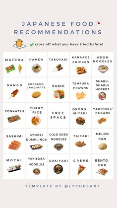 Bingo Template, Food Template, Templates, Twitter Template, Instagram Story Template, Cold Soba, Instagram Story Questions, Tonkatsu, Tempura