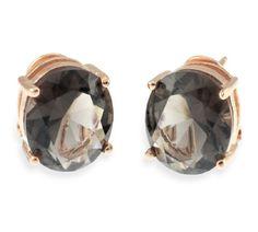 """Catálogos de joyas en plata y acero de Luxenter. Pendientes de Luxenter """"Nyanme"""" plata chapado oro rosa y piedra marrón"""