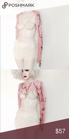 Betsey Johnson cardi Pink crochet sleeve warmer cardigan. With pendant and chain detail. Custom Betsey Johnson Jackets & Coats Capes