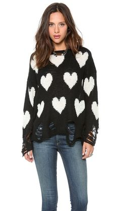 Wildfox All Over Love Loose Knit Sweater I WANTTTT IT EXEPET IN MINT