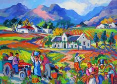 Artwork of Isabel le Roux exhibited at Robertson Art Gallery. Original art of more than 60 top South African Artists - Since Africa Painting, Artist Painting, Painting Gallery, Art Gallery, South Africa Art, African Wall Art, Bicycle Painting, Colorful Abstract Art, South African Artists