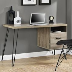 Features:  -Create a functional and stylish workspace.  -Laminated particleboard and metal legs.  Desk Type: -Computer desk.  Top Finish: -Sonoma oak.  Base Finish: -Gunmetal gray.  Accent Finish: -Gu