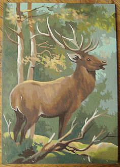 Vintage buck artwork = paint by number.