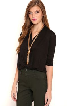 Deb Shops Surplice Front Top with Elastic Banded Bottom $16.12