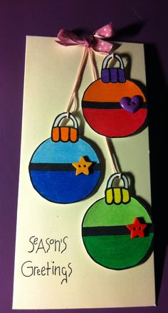 Christmas card craft-bauble card: Use with metallic ornament craft to make a card.
