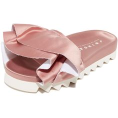 Joshua Sanders Satin Ruches Slides (€300) ❤ liked on Polyvore featuring shoes, rose, satin shoes, platform shoes, rubber sole shoes, joshua's shoes and rose shoes