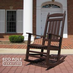 Recycled Plastic GrandVerandah™ Rocking Chair is ideal for the patio or porch. It features ten individually contoured seat slats with a high back design. OurGrandVerandah™ Rocking Chair is built from durable recycled poly lumber and assembled with stainless steel hardware. ECO POLY FURNITURE™ is made in the USA.